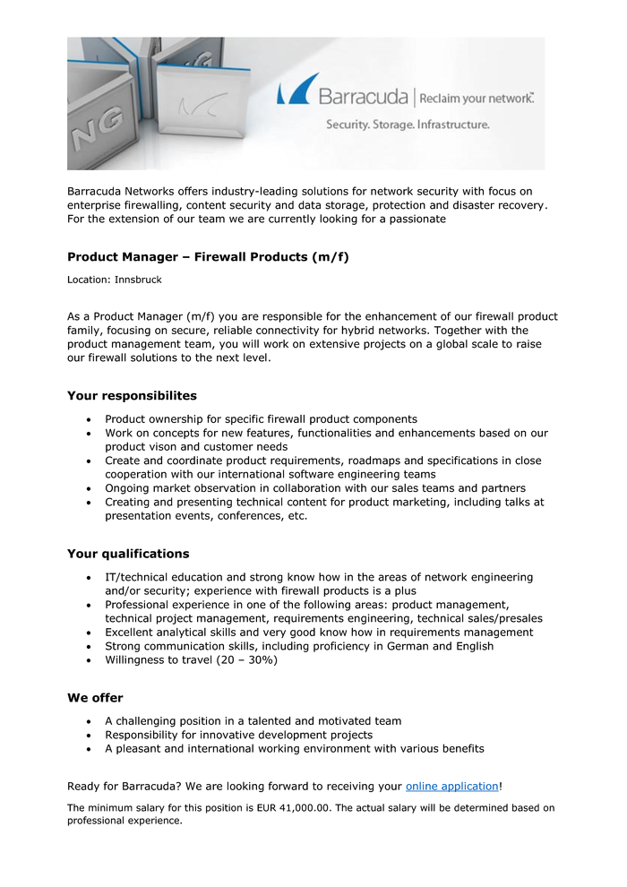 Product Manager - Firewall Products (m/f)