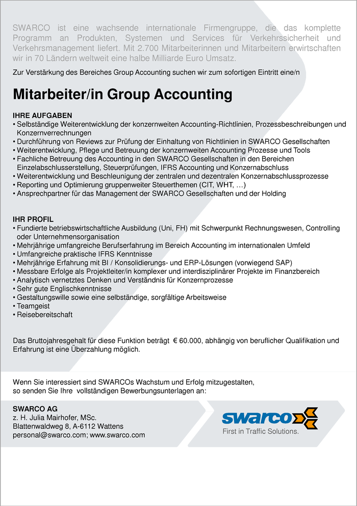 Mitarbeiter/in Group Accounting