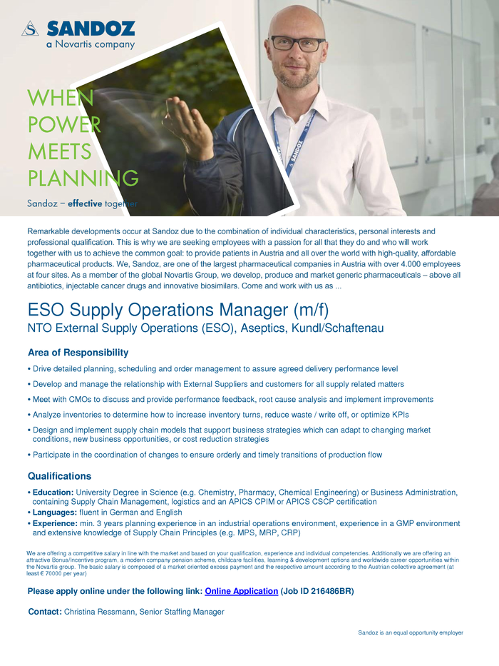 ESO Supply Operations Manager (m/f)