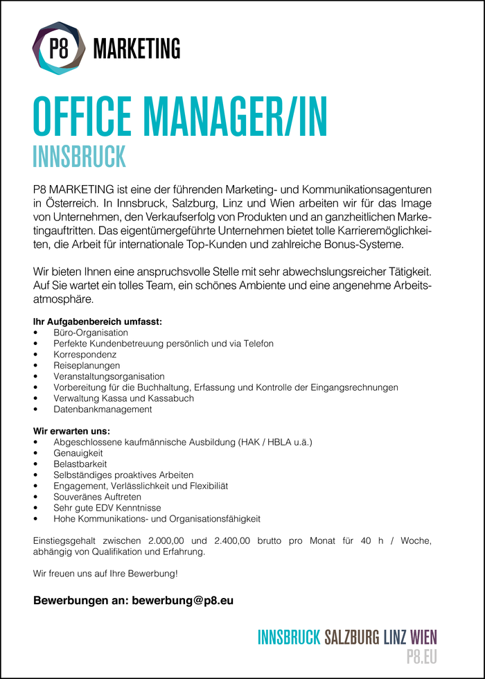 OFFICE MANAGER/IN