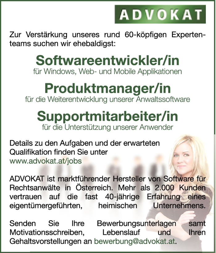 Softwareentwickler/in, Produktmanager/in und Supportmitarbeiter/in