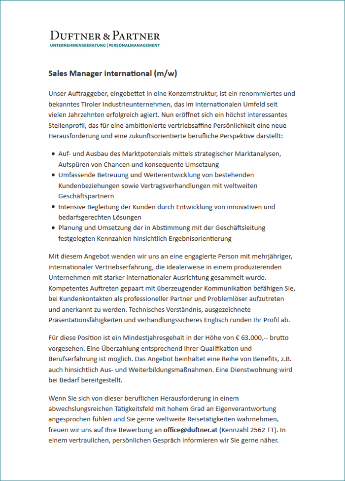 Sales Manager international (m/w)