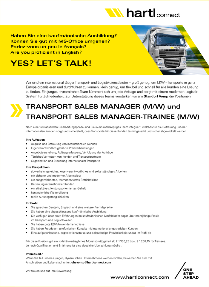 TRANSPORT SALES MANAGER TRANSPORT SALES MANAGER-TRAINEE (M/W)