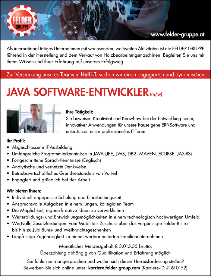JAVA SOFTWARE-ENTWICKLER (m/w)