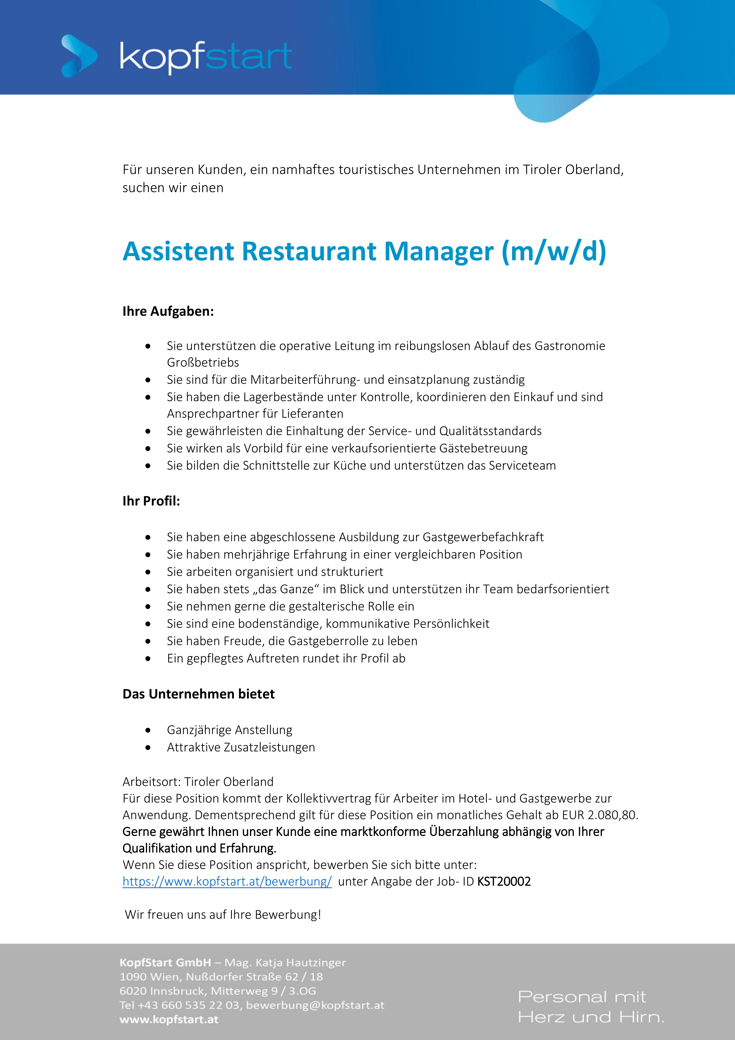 Assistent Restaurant Manager (m/w/d)