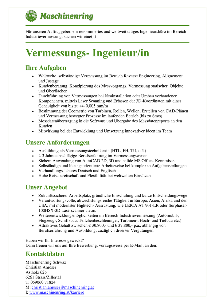 Vermessungs- Ingenieur/in