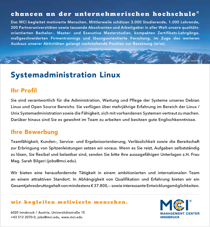 Systemadministration Linux (m/w)