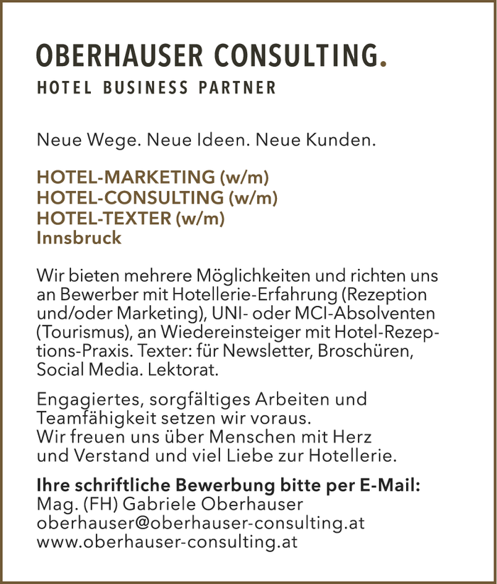 HOTEL-MARKETING (w/m) & HOTEL-CONSULTING (w/m) & HOTEL-TEXTER (w/m)