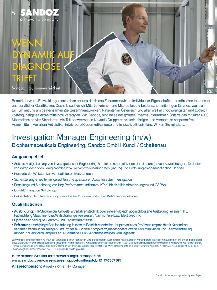Investigation Manager Engineering (m/w)