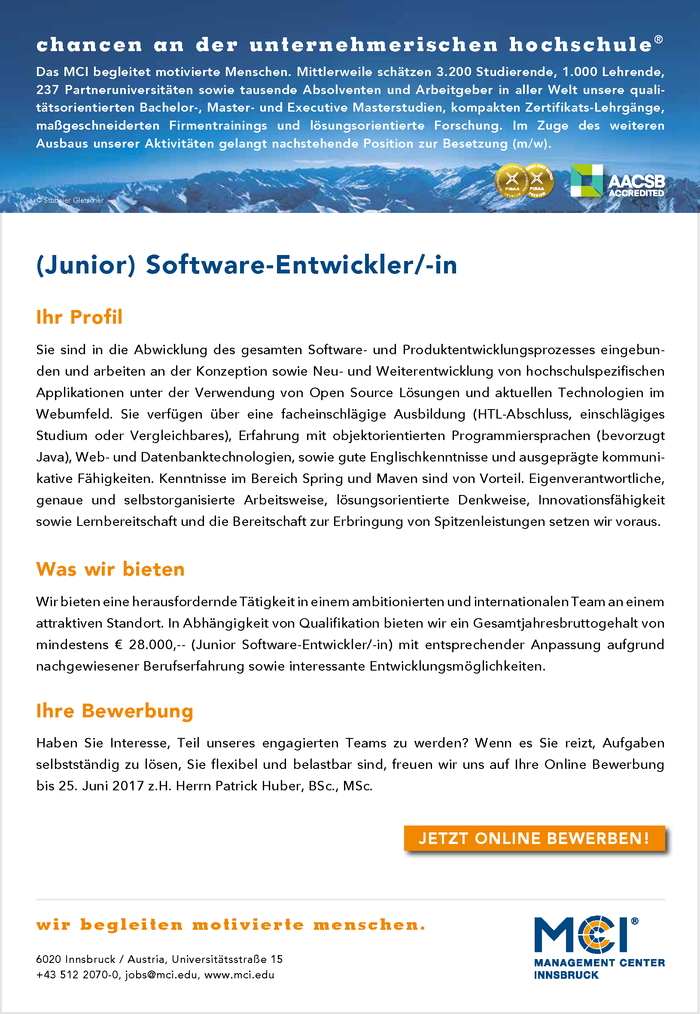 (Junior) Software-Entwickler/-in
