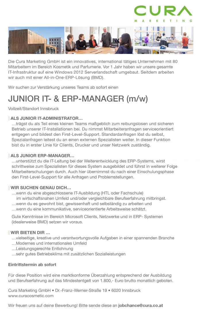Junior IT- und ERP-Manager (m/w)
