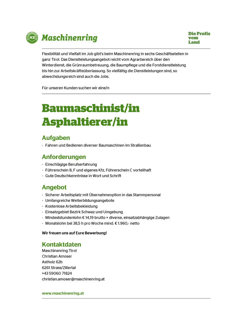 Baumaschinist/in Asphaltierer/in