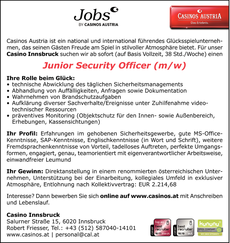 Junior Security Officer (m/w)