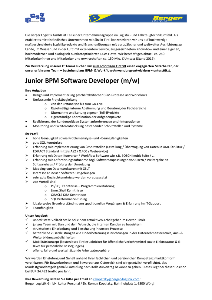Junior BPM Software Developer (m/w)