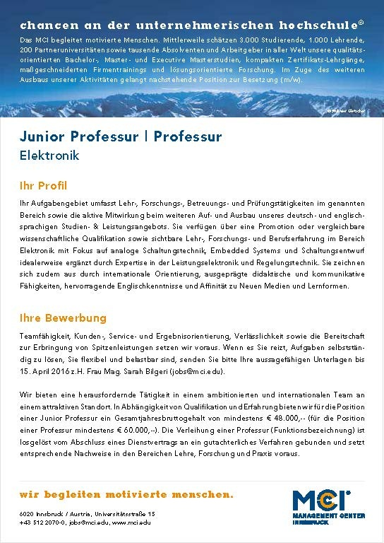 Junior Professur / Professur Elektronik