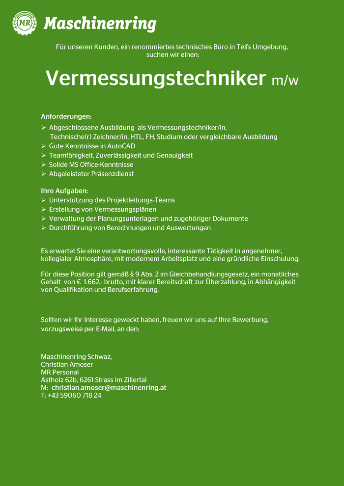 Vermessungs- Techniker m/w