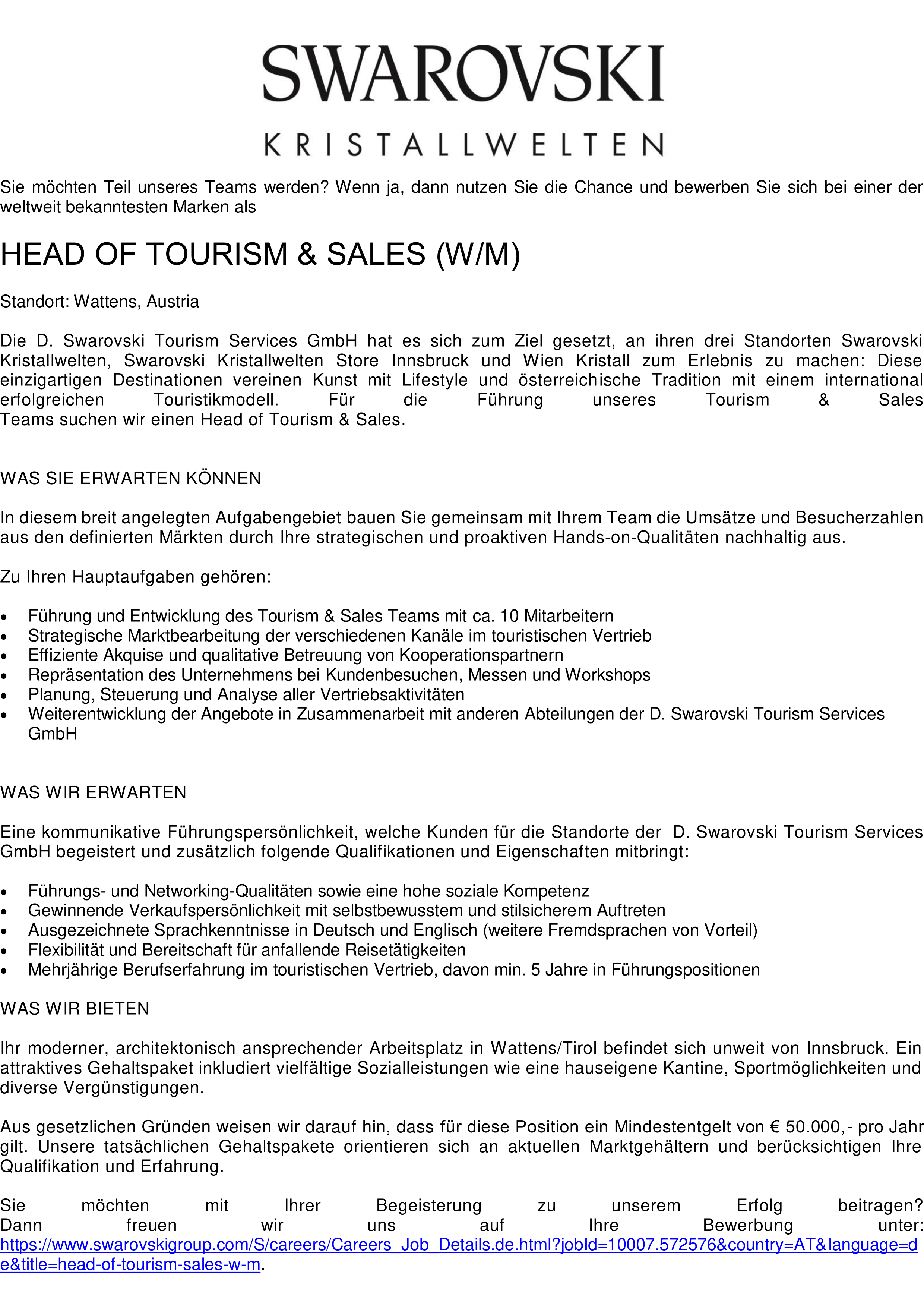 HEAD OF TOURISM & SALES (M/W)