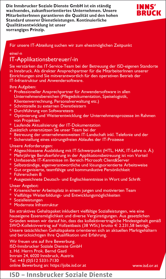 IT-Applikationsbetreuer/-in