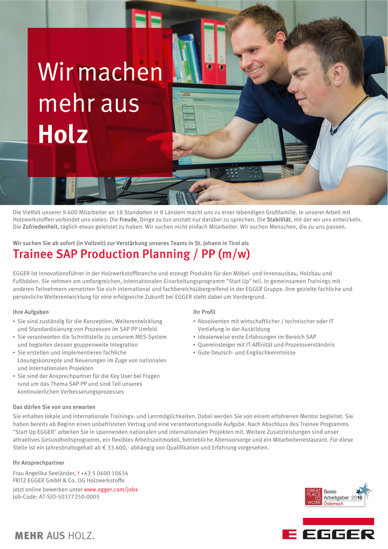 Trainee SAP Production Planning / PP (m/w)