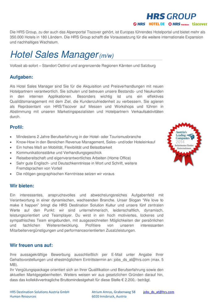 Hotel Sales Manager (m/w) Home Office Osttirol/Tirol Ost