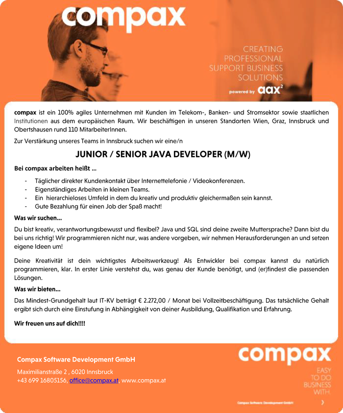 JUNIOR / SENIOR JAVA DEVELOPER (M/W)