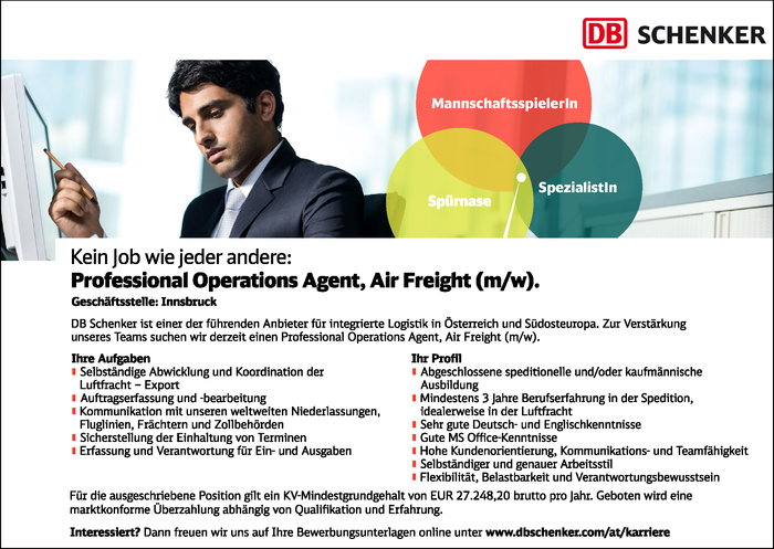 Professional Operations Agent, Air Freight (m/w)