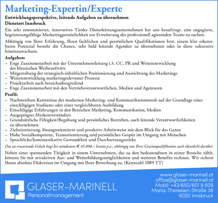 Marketing-Expertin/Experte