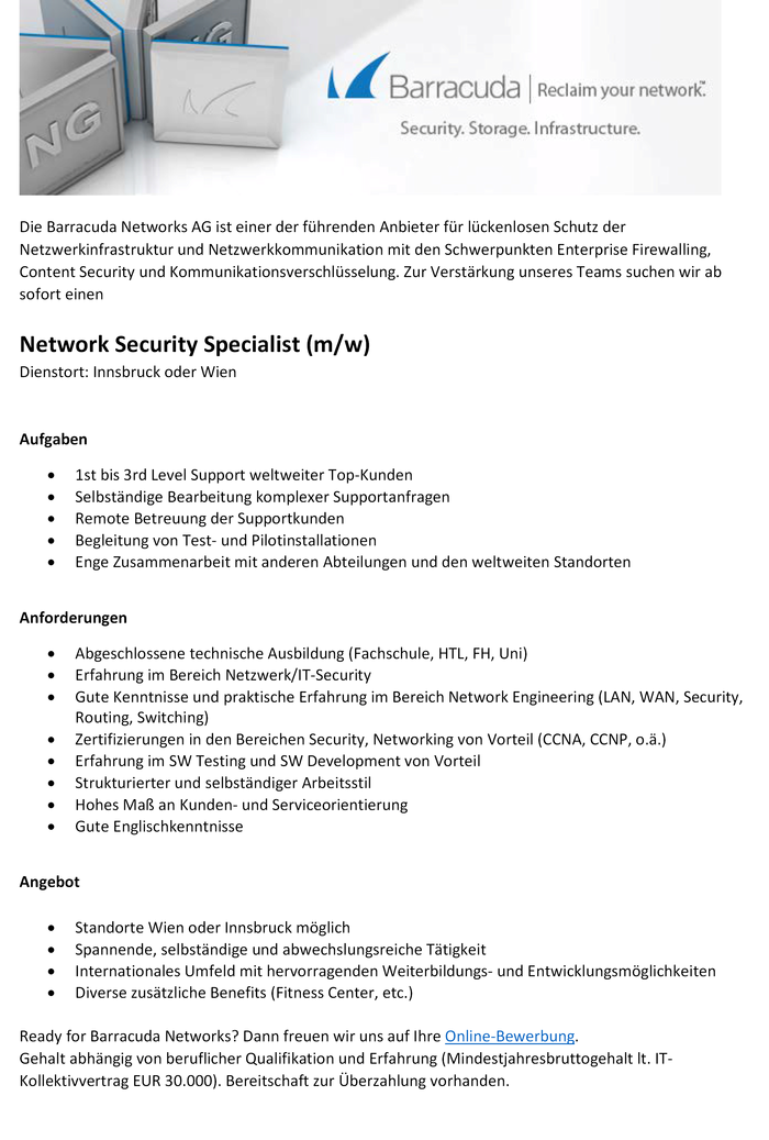 Network Security Specialist (m/w)