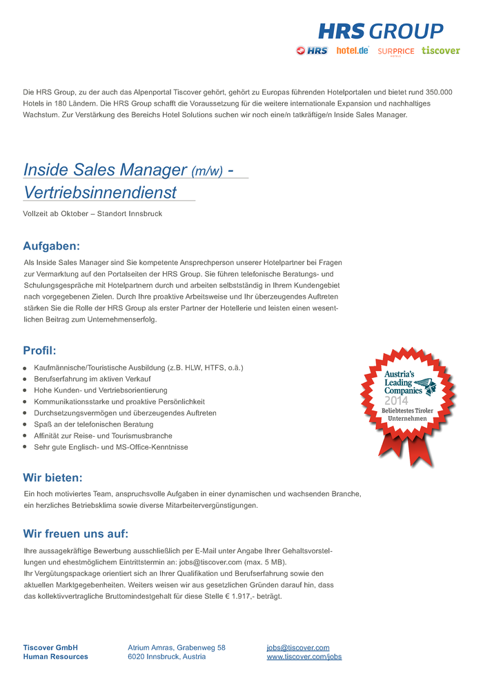 Inside Sales Manager (m/w)