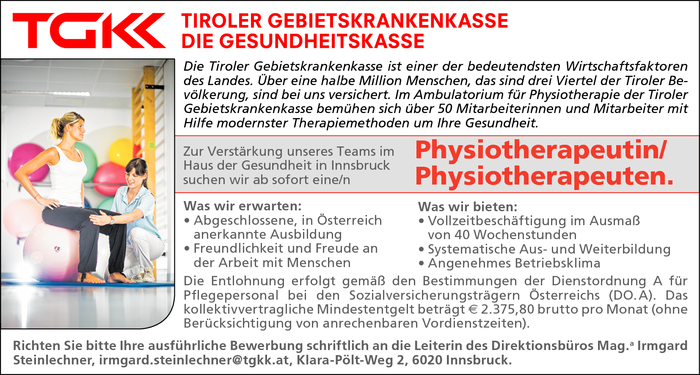 Physiotherapeutin/ Physiotherapeuten