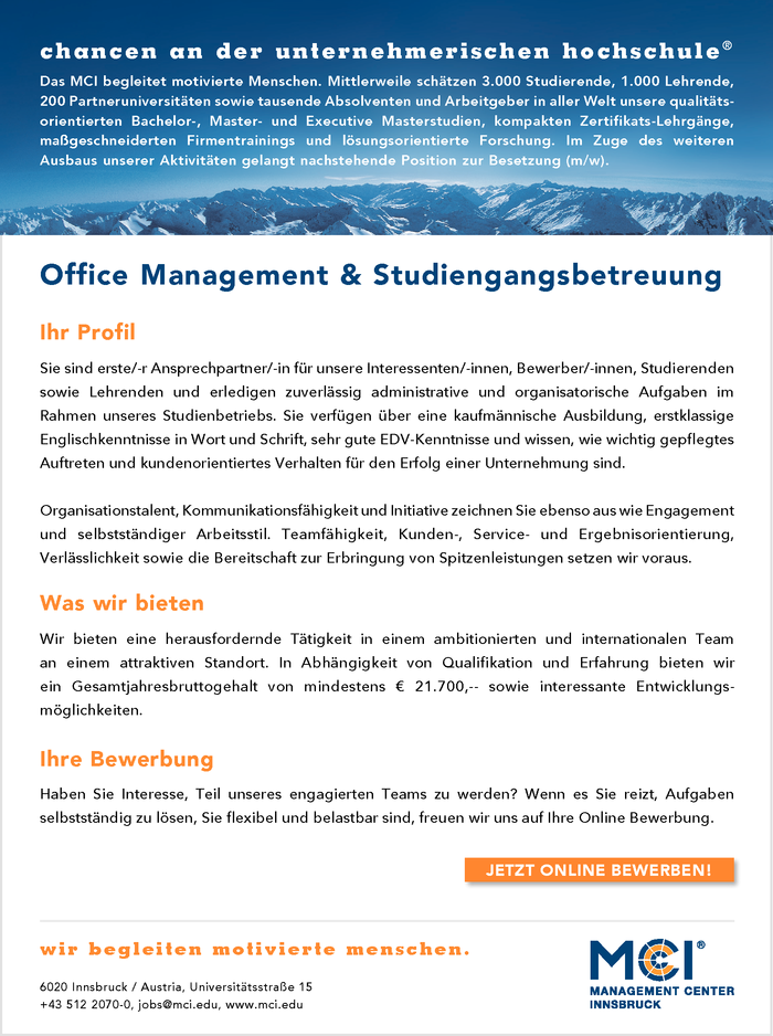 Office Management & Studiengangsbetreuung