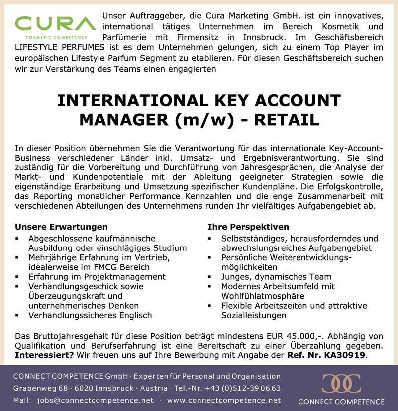 INTERNATIONAL KEY ACCOUNT MANAGER (m/w) - RETAIL
