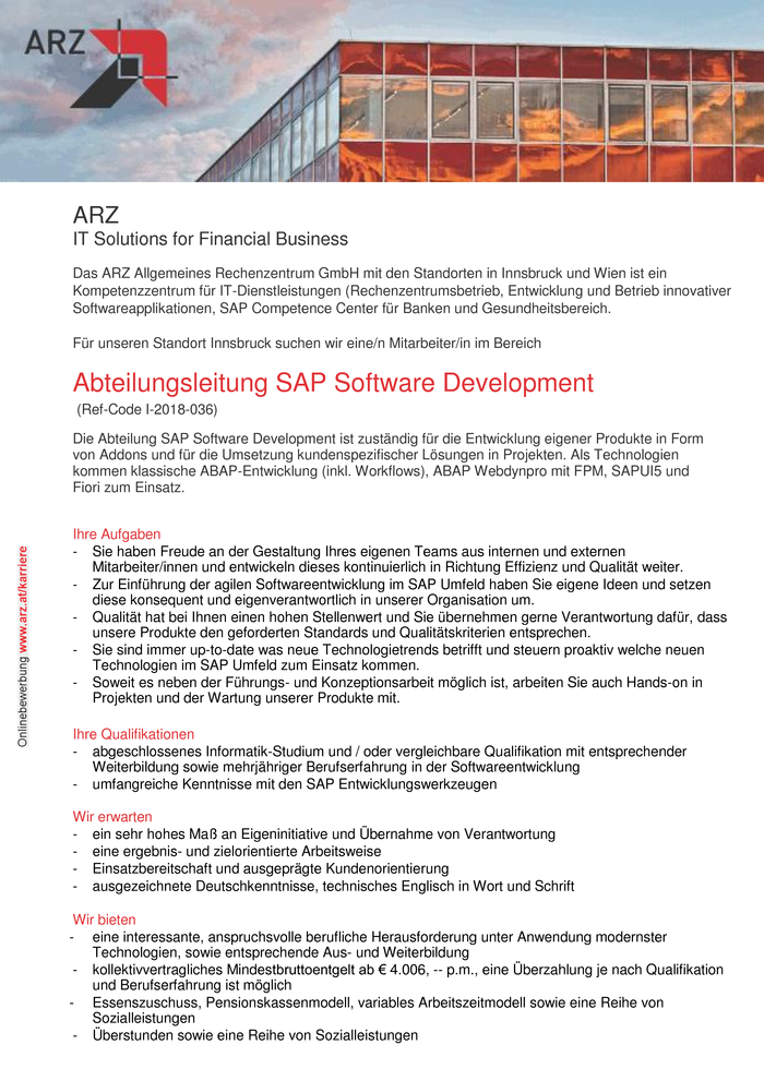Abteilungsleitung SAP Software Development