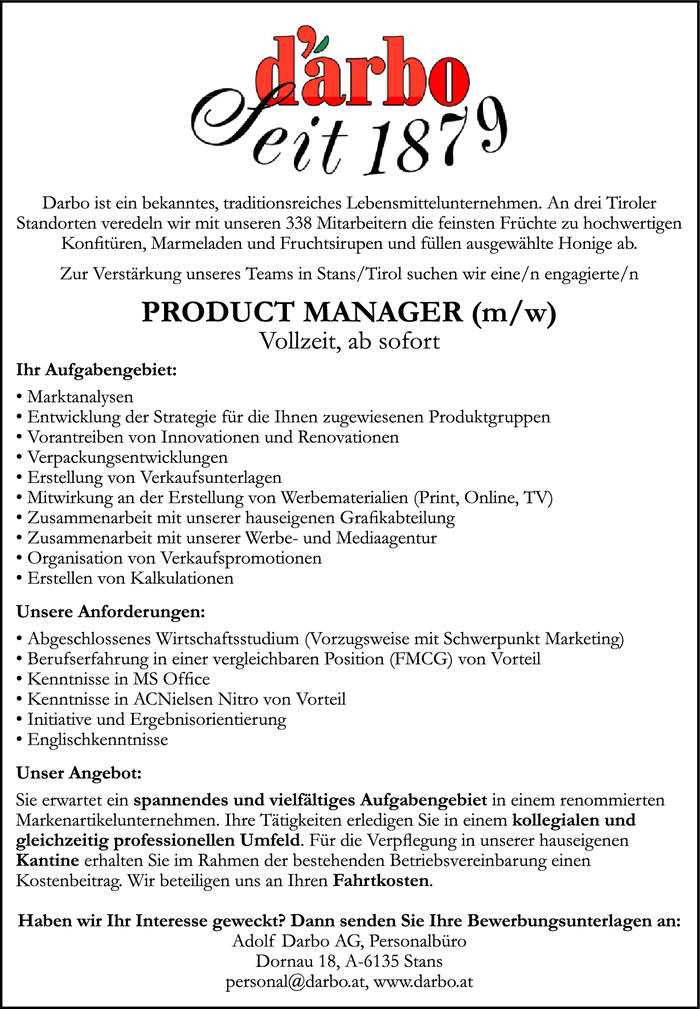 PRODUCTMANAGER (m/w)