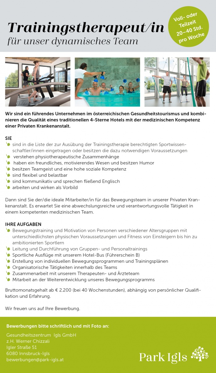 Trainingstherapeut/in (Sportwissenschaft)