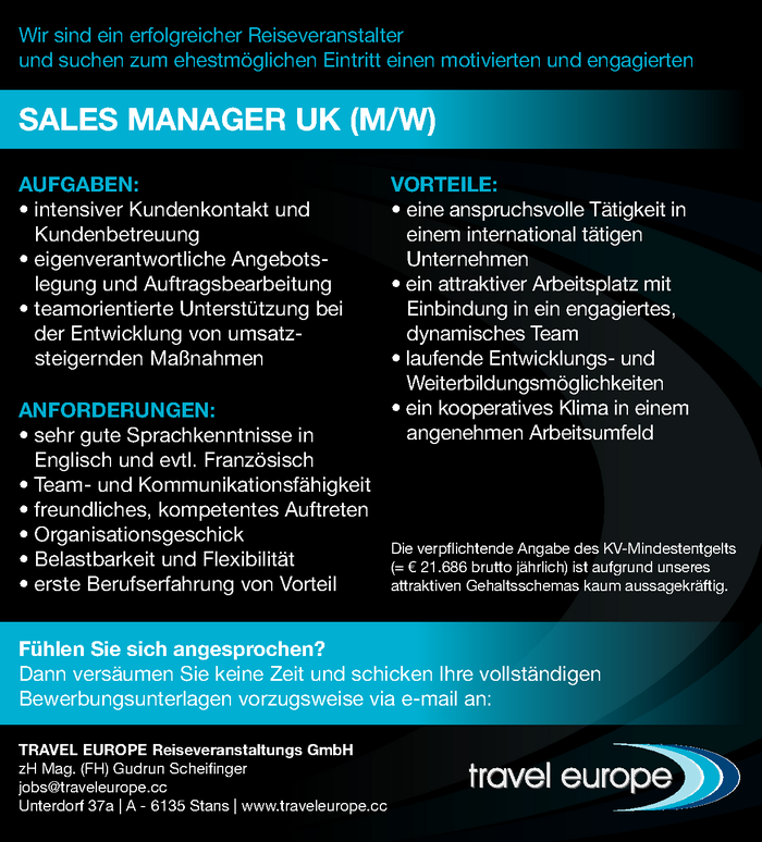 Sales Manager UK (m/w)