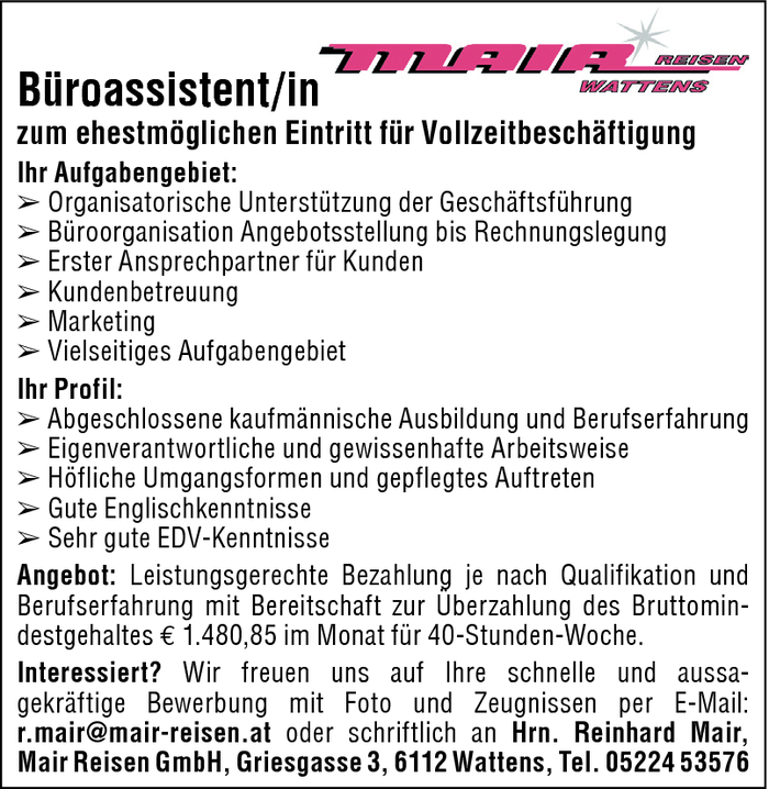 Büroassistent/in