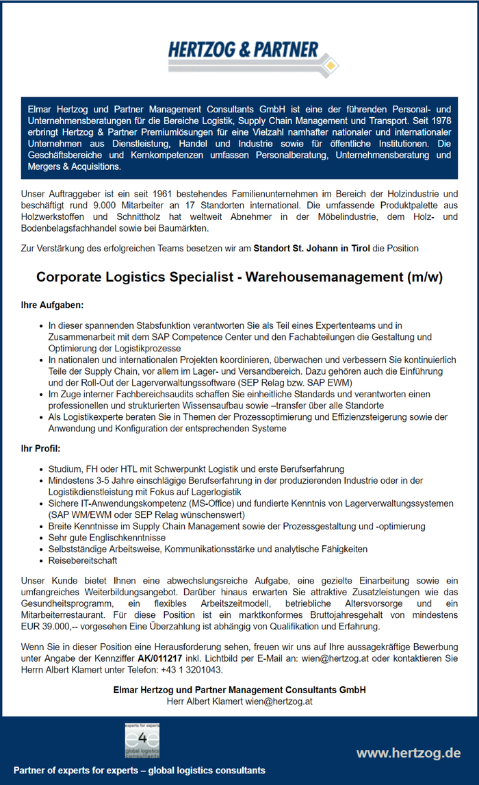 Corporate Logistics Specialist - Warehousemanagement (m/w)