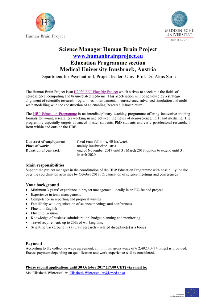 Science Manager Human Brain Project