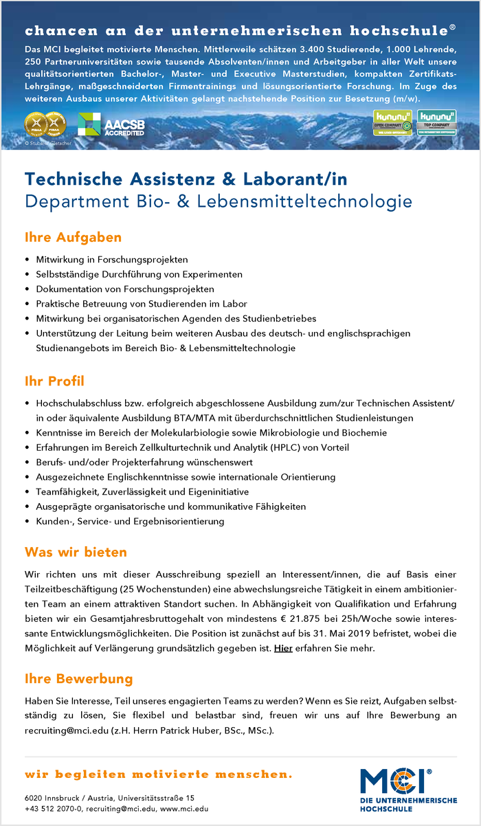 Technische Assistenz & Laborant/in im Bezirk Innsbruck-Stadt ...