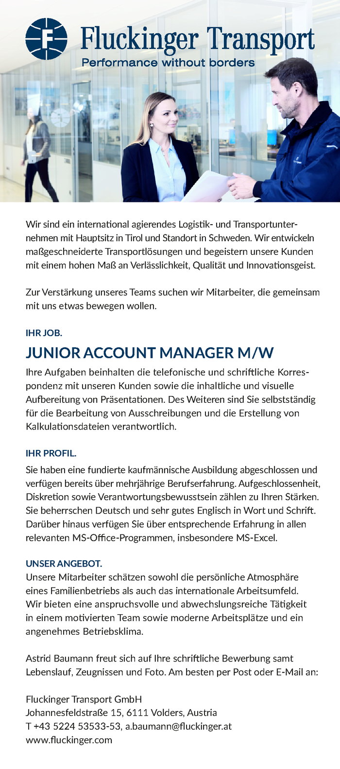 JUNIOR ACCOUNT MANAGER M/W