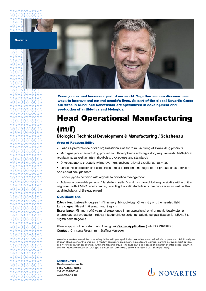 Head Operational Manufacturing (m/f)