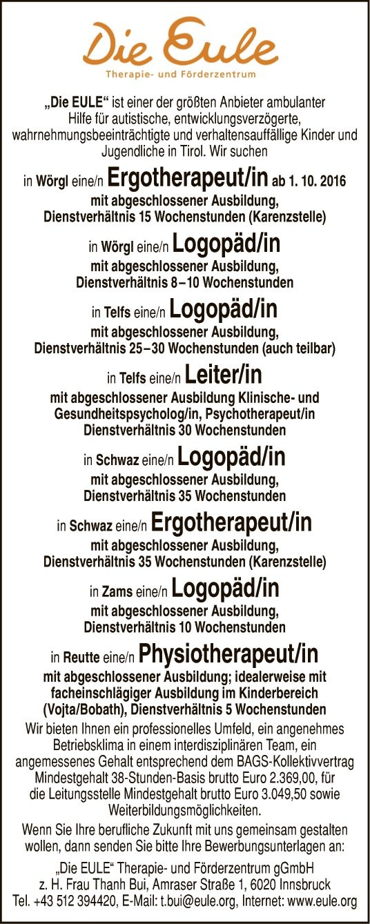 Ergotherapeut/in & Logopäd/in & Ergotherapeut/in & Physiotherapeut/in & Leiter/in