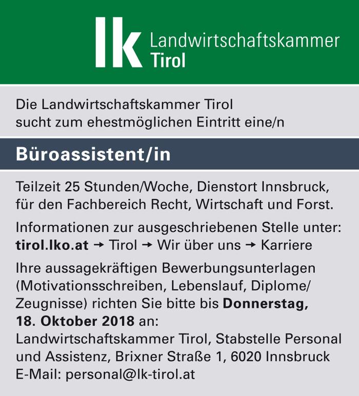 Büroassistent/in im Bezirk Innsbruck-Stadt - Bewirb dich auf offene ...